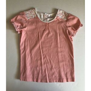 Hanna Andersson Peach Floral Knit Top